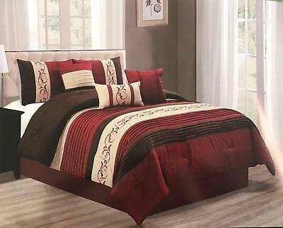 6pc Striped Burgundy Brown And Beige Womens Girls Bedroom Comforter Set Bedding