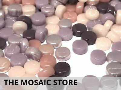 Purple & Pink Mixed Glass Dots - Mosaic Tiles Supplies Art Craft