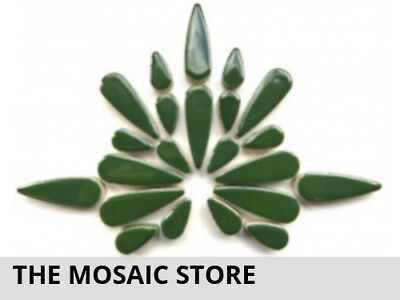 Dark Green Ceramic Teardrops | Decorative Tiles Supplies Art Craft