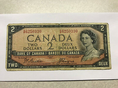 1954 Canada 2 Dollar Devils Face Note VG+ #9657
