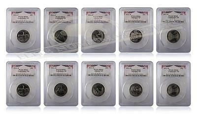 PCGS MS66 2011 P&D National Park Quarter 10-Coin Set Bunting Inserts
