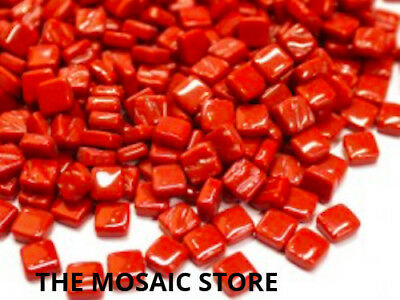 Blood Red 8mm Glass Tiles - Micro Small Mosaic Art Craft Supplies