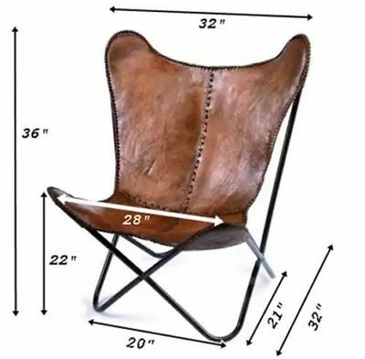 Leather Butterfly  Chair-Genuine Leather/  Relaxing Chair/ Leather Chair- Brown