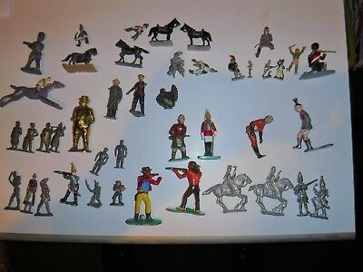 Vintage Toy Soldiers Knight, People Horses, West Figures Mixed Lot Mostly Metal
