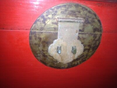 Antique Chinese Red Wedding Chest NOT a Repoduction