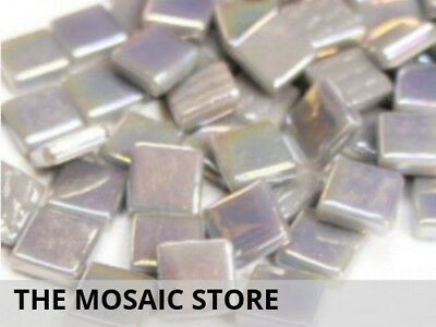 Mid Grey Iridised Glass Tiles 12mm - Mosaic Art Craft Supplies