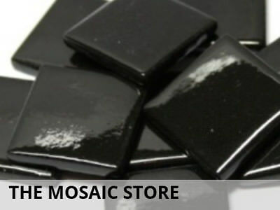 Black Gloss Glass Tiles 2.5cm | Mosaic Tiles Supplies Art Craft