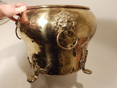LARGE Antique Imperial Russian Brass Lion Head Paw Feet Jardiniere Pot Planter