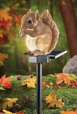 Yard Lighted Solar Garden Squirrel Statue Outdoor Figurines Lawn Decor