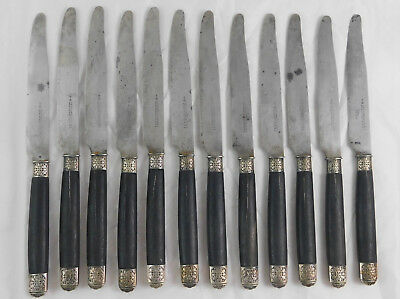 12 Antique French Ebony Silver Dinner Knives CH GUERRE Paris 1800s