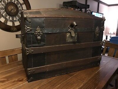"""ANTIQUE Large Dome Humpback Steamer Trunk Chest On 4 Wheels 36""""L x 24 W x 28""""H"""