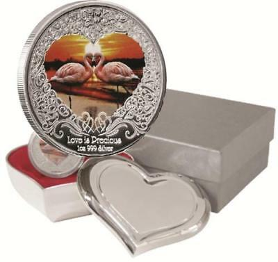 2011 Love is Precious Pink Flamingo 1 oz Silver Proof Coin with Heart Box & COA