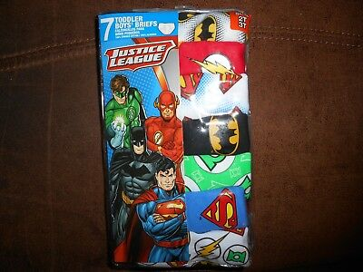 Toddler Boys Justice League Superhero Brief Underwear 7 Pk. Size 2T/3T & 4T NEW