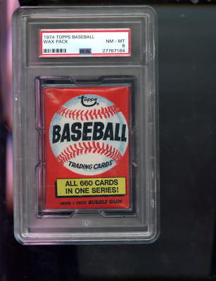 1974 Topps Baseball Card Unopened Wax Pack 660 One Series Ad NM-MT PSA 8 Graded