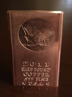 5 *2011* AMERICAN EAGLE Half Pound (8oz.) .999 Fine Copper Bullion Bars 40oz.