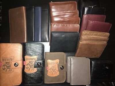 Job Lot Of 22 Mixed Luxury Quality Black Brown Men Leather Wallets Purse