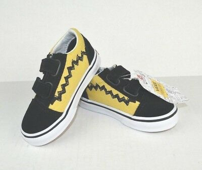 2b483181443caf Vans Charlie Brown Peanuts Old Skool V Size 6.5 Toddlers Kids Shoes Black  NEW