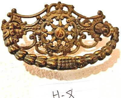 Very Ornate Solid Brass Victorian Vintage Drawer Handle Pull hardware    h-8
