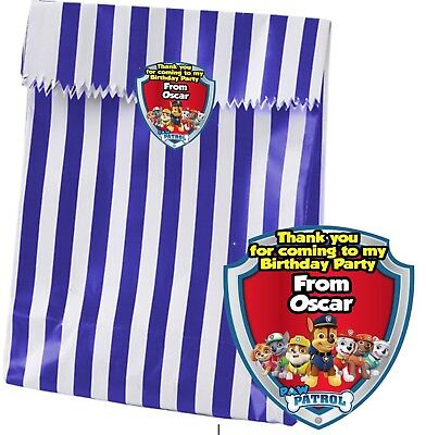 Birthday Party Candy/Sweets/ Paper Bags + Personalised Paw Patrol Sticker Seal