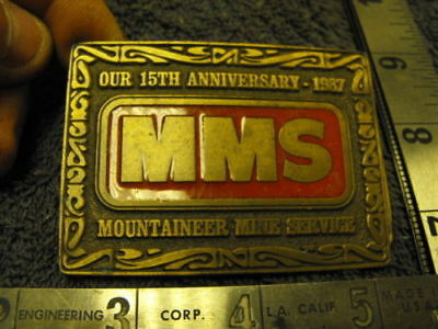 VINTAGE 1980s MMS-Mountaineer-Mine-Service-Our-15th-Anniversary-1987-Belt-Buckle