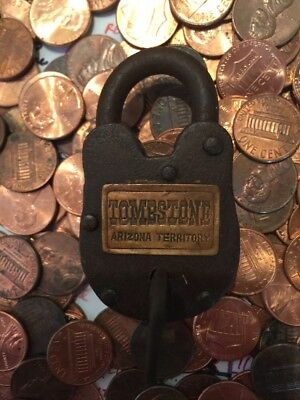 Vintage Style Tombstone Padlock w Key Brass Lock Wild West 1800s NR Antique