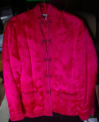 Vintage Oriental China Quilted Ladies Rose pink/Fuchsia Jacket