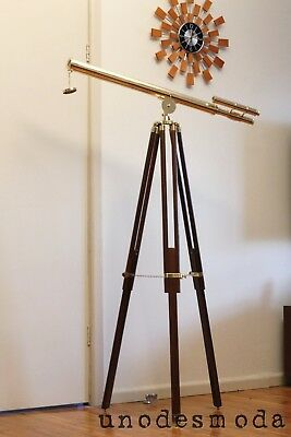 Quality HAND MADE Solid BRASS Tripod Floor Telescope Teak - RRP $799 IN STORES