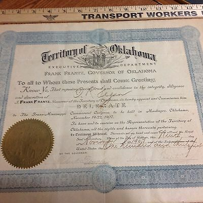 Indian Territory Oklahoma Territory Doc. Signed By Governor Frank Frantz 1907
