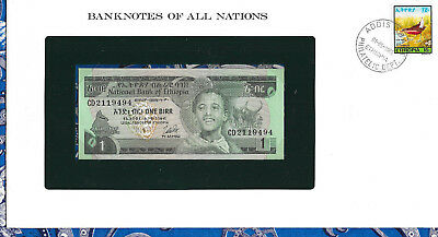 Banknotes of All Nations Ethiopia 1976 1 Birr P30b UNC Birthday note CD 2119494