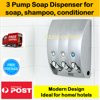 Soap Dispenser Wall Mount Bathroom Shower Modern Body Wash Shampoo Holder Pump