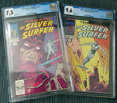 Silver Surfer #1 & #2 (1988) CGC 7.5 & 9.6 White Pages - Stan Lee! Moebius!