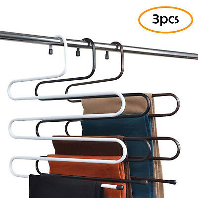 3Pcs Stainless Steel 5 Layers Pants Hangers S-type Closet Hanger Storage Rack