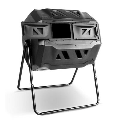 NEW 160L Capacity Steel Frame Twin Chamber Design Garden Compost Tumbler Bin