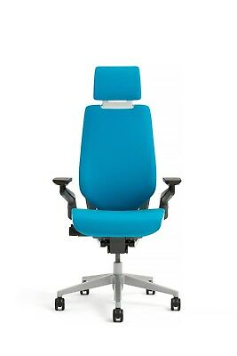 New Steelcase Gesture Chair Adjustable Headrest Wrap Back Light Frame Blue Jay