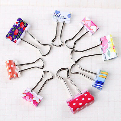 24PCS Colorful Printing Metal Binder Clips Paper Clamps School Office .US