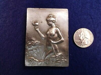 Beautiful Vtg 1974 Mens Pewter Belt Buckle - Art Nouveau Nude Lady In The Garden