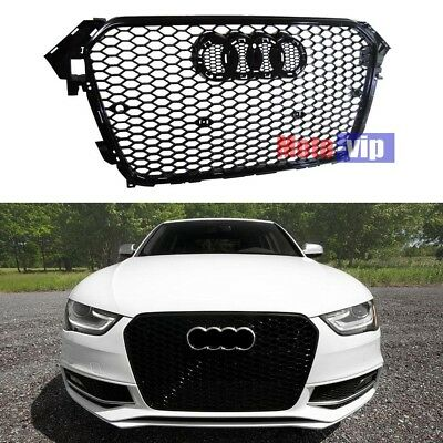FOR 2013-2015 AUDi A4 B9 GLOSS BLACK RS4 TYPE MESH SPORT GRILLE B8.5