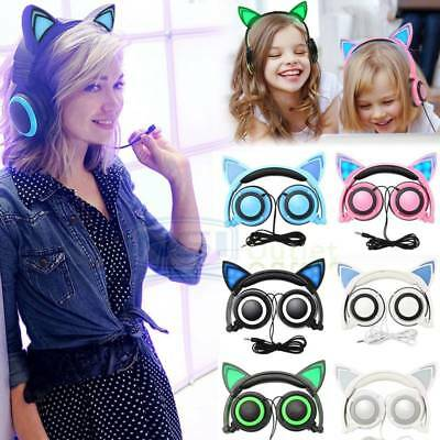 Foldable Cat Kitty Ear LED Flashing Lights Rechargeable Headphones Earphone