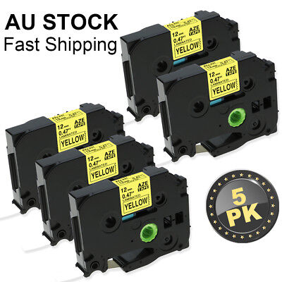 Black on Yellow 5PK TZe 631 Compatible Brother Standard P-Touch Label Tape 12mm
