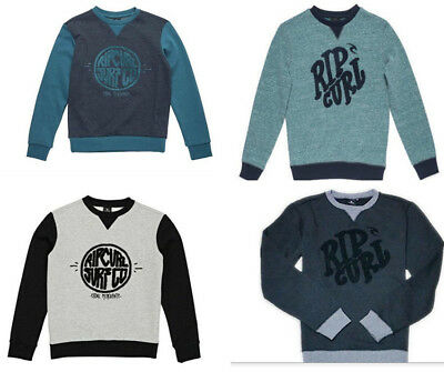 Rip Curl Boys Youth Crew Sweater Fleece Casual Top Pullover T-Shirts Size 8-16