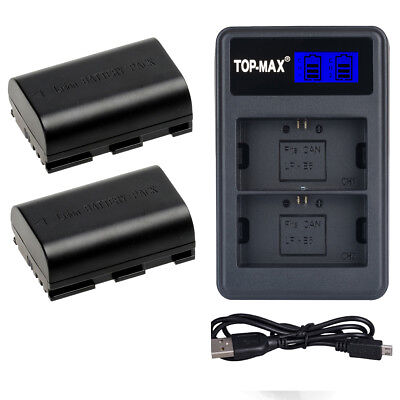 2x Battery +Dual-Channel Charger For Canon LP-E6 LP-E6N EOS 5D Mark II III 6D 7D