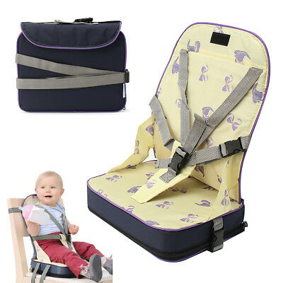 Portable Baby Toddler Dining High Chair Feeding Booster Seat With Harness Safety