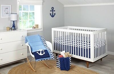 100% Cotton Tailored Crib Skirt Navy
