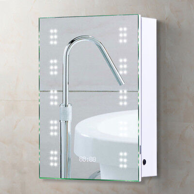 60 led illuminated bathroom mirror cabinet shaver socket demister