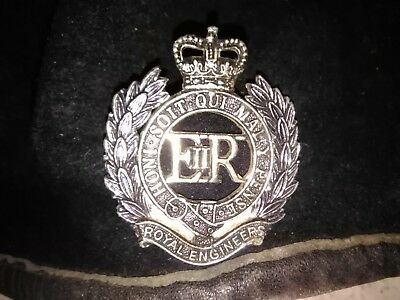 Navy Blue Royal Engineers Beret and Official Issue Cap Badge