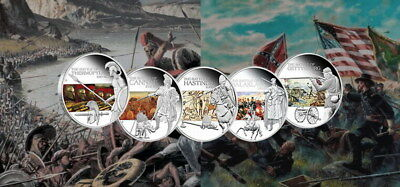 Tuvalu 2009 1$ FAMOUS BATTLES In History 5 x 1 oz Proof Coloured Silver Coin Set