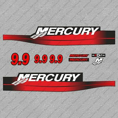 Mercury 9.9 hp Two Stroke outboard engine decals sticker set reproduction 9.9HP