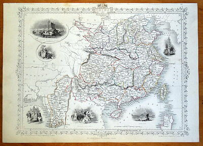 CHINA and BIRMAH, BURMA, RAPKIN & TALLIS original illustrated antique map c1850