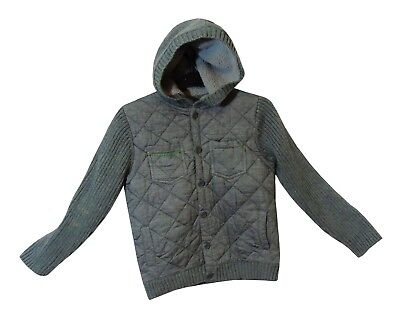 Boys Next Grey Quilted Ribbed Button Fronted Hooded Jacket Age 9 Years