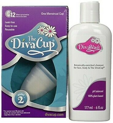 The Divacup Divawash Natural Gel Cup Cleansers 6 Oz & Model 2 Menstrual Cup -Kit